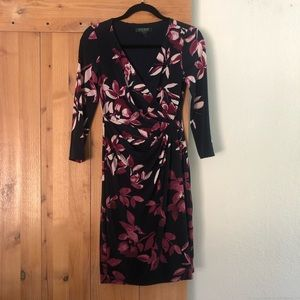 Lovely Floral Faux-Wrap Dress